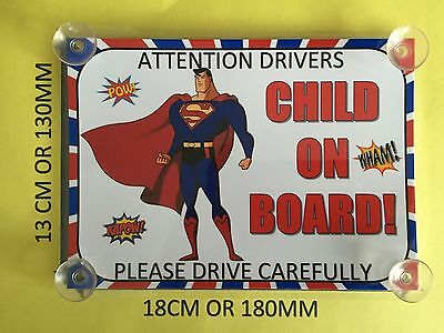 Superheroes Superman Child On Board Car Laminated Sign
