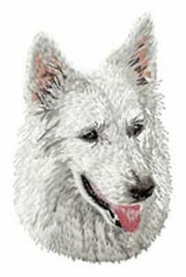 """White Swiss Shepherd Dog, Embroidered, Patches 3.5"""" Tall, Or Embroidered Hat"""