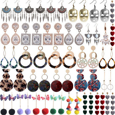 Women Elegant Boho Tassel Rhinestone Acrylic Ear Stud Drop Dangle Earrings Lot