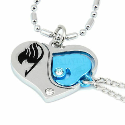 Anime Valentine Fairy Tail Loves Couples Heart Necklace Pendant Cosplay 2 Pcs