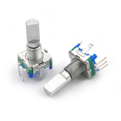 3Pcs/set 6mm D Shaft 18 Position 360 Degree Rotary Encoder w Push Button `