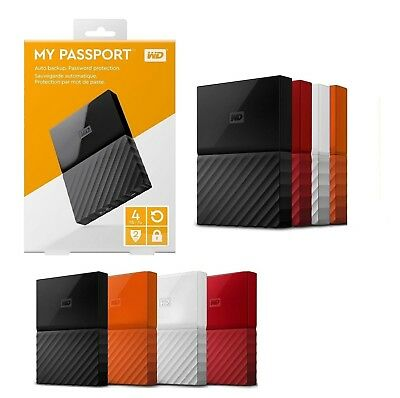 "WD My Passport 1TB 2TB 4TB 2.5"" Portable External Hard Drive HDD USB 3.0 Backup"