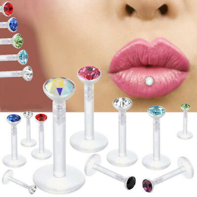 10Pcs Crystal Labret Monroe Lip Tragus Nose Ear Earrings Piercing Ring Bar Stud