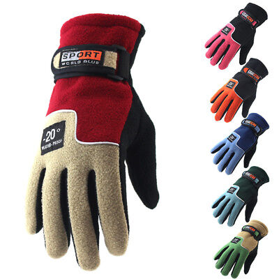 Motorcycle Motorbike Racing Gloves Men Women Thermal Warm Fleece Lined Windproof