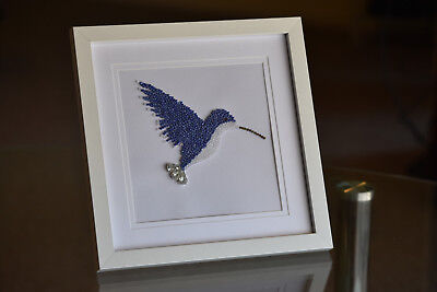 humming bird bead art wall art gift home decor frame blue