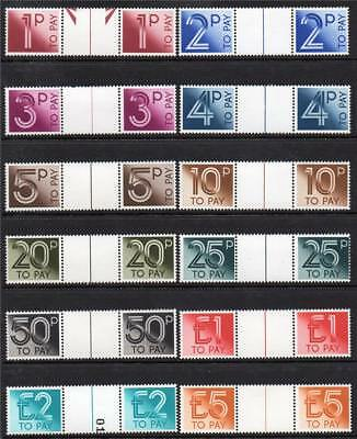 Gb Mnh 1982 D90-D101 Postage Dues Set Of 12 Gutter Pairs