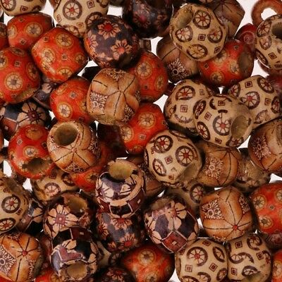 100Pcs Fashion Wood Beads Big Hole Charms Wooden Loose Bead You Pick DIY Making