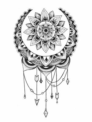 High Quality 13.5cm x 9cm Fake Tattoo Flower Mandala Waterproof Temporary Art