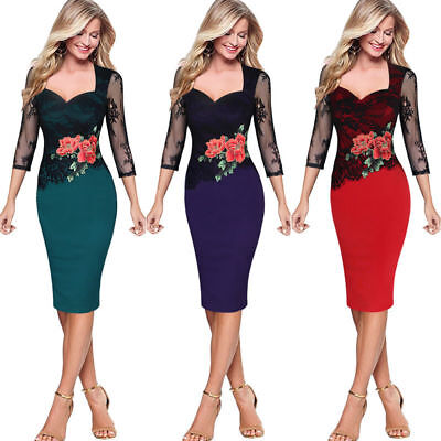 Womens Lace Plus Size Formal Bodycon Pencil Party Evening Cocktail Midi Dress