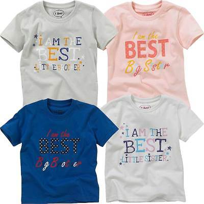 Childs Boys Girls Best Big Little Brother Sister Birthday T-Shirt Tops Cotton