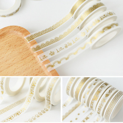 5pcs Random Color Washi Tape DIY Gold Foil Adhesive Sticker Home Decor