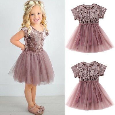 Toddler Kids Baby Girls Princess Summer Dress Pageant Party Tutu Dressy Clothes