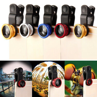 Universal 3 in 1 Wide Angle+Fish Eye+Macro Camera Photo Lens Kit For Smart Phone