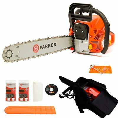"62Cc 20"" Petrol Chainsaw + 2 X Chains - Carry Bag - Bar Cover - Tool Kit - Assis"
