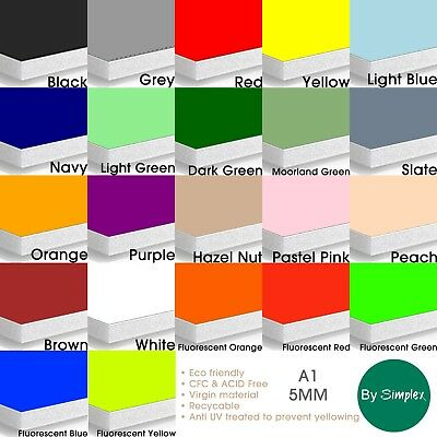 EXCLUSIVE A1 COLOURED & FLUORESCENT Foam Boards, 22 Colours, 10 Sheets per Pack