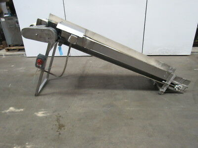 "Incline Cleated Stainless Steel Small Parts Conveyor 90""x17"" 44FPM 39"" Discharge"