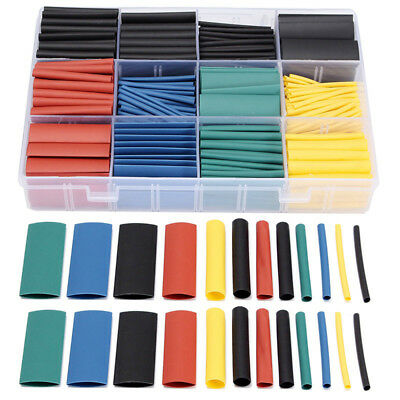 530 Pcs 2:1 Heat Shrink Tubing Tube Sleeving Wrap Cable Wire 5 Color 8 Size UK