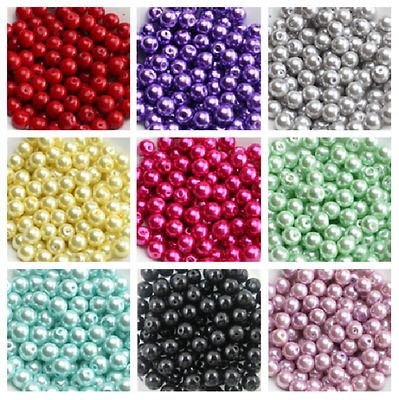 Multi Color Glass Pearl Round Spacer Loose Beads 200x4mm100x6mm50x8mm30x10mm