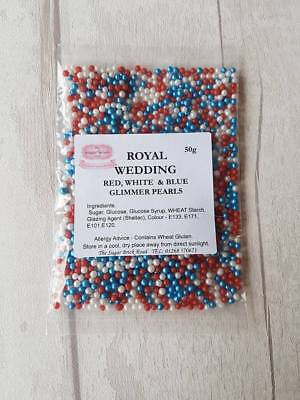 Glimmer Pearls 50g Red White Blue edible cake sprinkles Birthday