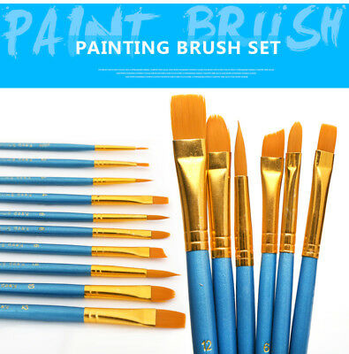 10Pcs Set Water colour Gouache Artist Paint Brushes