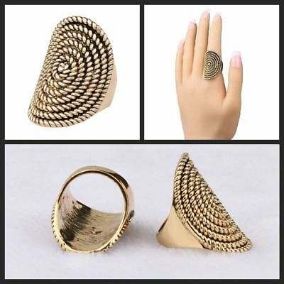 Wedding Turkish Rotating Thread Rings Ancient Gold Plating Jewelry Oval Shaped
