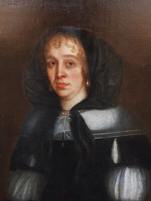 17th Century English School Antique Portrait of a Lady Dated 1674