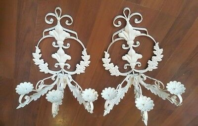 Pair of Deco Architectural Salvage Iron Wall Sconces Americana Rustic 22x17x14