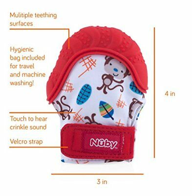 Nuby Soothing Teething Mitten with Hygienic Travel Bag Red ,2 day free Shipping