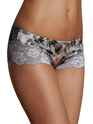 Ex Marks & Spencer Lingerie Low Rise Shorts Pink Grey Floral Lace Knickers Exm&S