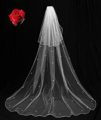 NEW LONG 2 TIER SPARKLING VEIL, LIGHT IVORY With comb.