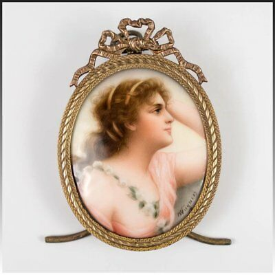 Antique HP Portrait Miniature on Porcelain, French Bow Top & Easel Frame