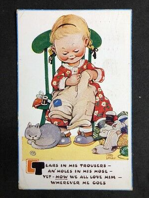 Vintage PC: Artist Signed: Mabel Lucie Attwell #A535: Tears In His Trousers 1950