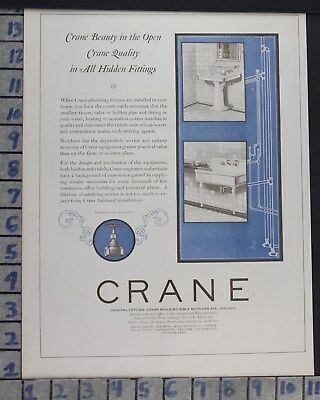 1923 Crane Bath Room Sink Fixture Chicago Home Decor Vintage Art Ad  Cr47