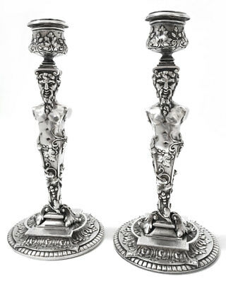 Pair of Heavy, Silver-Plated, Neoclassical / Greek Revival Figural Candlesticks