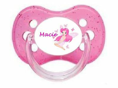 Personalised Dummy Pacifier Soother, All Teats,sizes & Colours, Princess Fairy