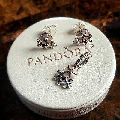 Authentic pandora poetic blooms earrings and pendant  set 925 sterling silver