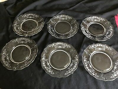 Fostoria Meadow Rose Etched Baroque Salad Plates Set Of Six Perfect Condition & Fostoria Meadow Rose Etched Baroque Salad Plates Set Of Six Perfect Condition