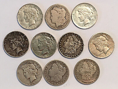 A Lot of 10 Cull Condition US $1 Silver Morgan and Peace Dollars