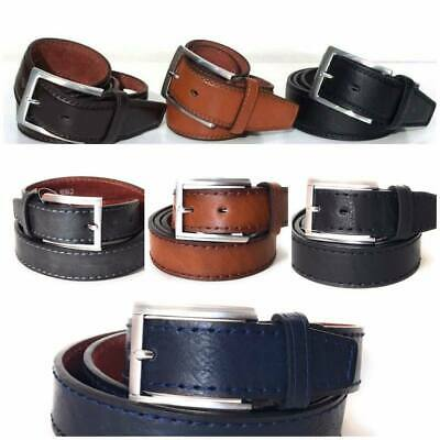 New Men Faux Leather Belts Black Brown Belt Waist 30 - 60 Metal Buckle Bonded