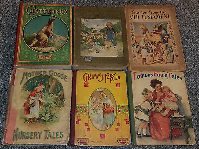 Lot Of 6 Vintage Antique Early 1900's Childrens Story Books Chatterbox Grimm's