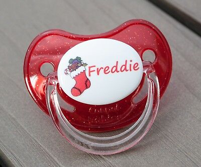 PERSONALISED DUMMY PACIFIER SOOTHER, ALL TEATS,SIZES & COLOURS, CHRISTMAS 2a
