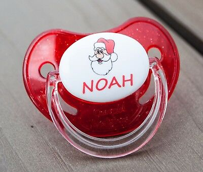 PERSONALISED DUMMY PACIFIER SOOTHER, ALL TEATS,SIZES & COLOURS, CHRISTMAS 1a
