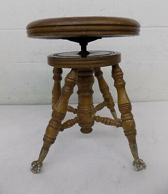 Antique Chas Parker Adjustable Height Wooden Claw Foot Piano Stool AS-IS LOOK