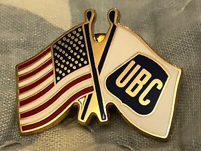 """UNITED BROTHERHOOD of CARPENTERS """"UBC/USA CROSSED FLAGS PIN"""" SHOW YOUR PRIDE New"""