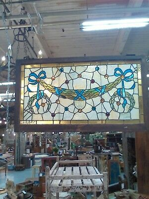 Vintage Leaded Stain Glass  Window Architectual Garland Motif 19Th C Jewels