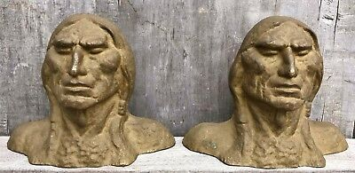 Antique Native American Indian Head Cast Solid Brass Bookends c. 1900