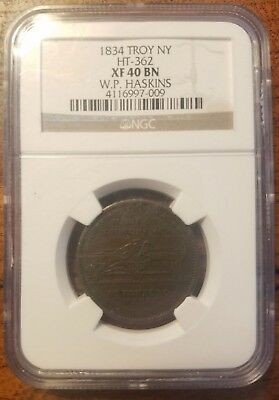 1834 Hard Times Token, Troy NY W.P. Haskins NGC