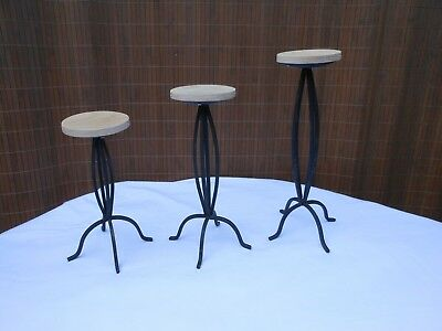 Three Hat Display/Stands Metal and Wood Rustic/Counter Top/Table Top