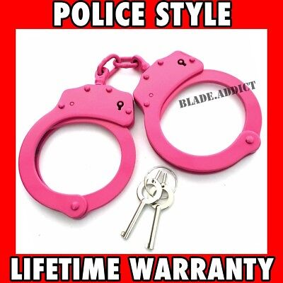 PINK DOUBLE LOCK NICKEL PLATED HEAVY DUTY STAINLESS STEEL HAND CUFFS + KEYS Real