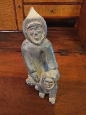 Early  Alaskan Art Eskimo Carving Father And Child Very NICE ARTIFACT!